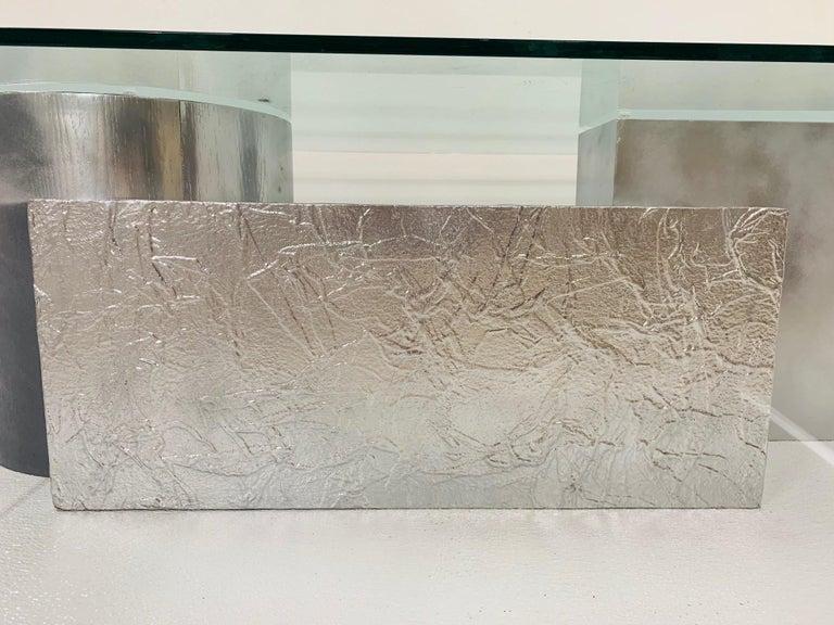 Glass Three-Piece Geometrical Coffee Table For Sale