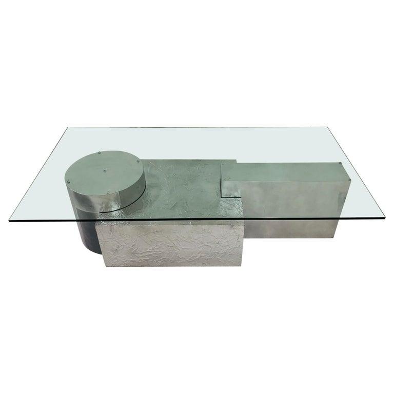 Three-Piece Geometrical Coffee Table For Sale