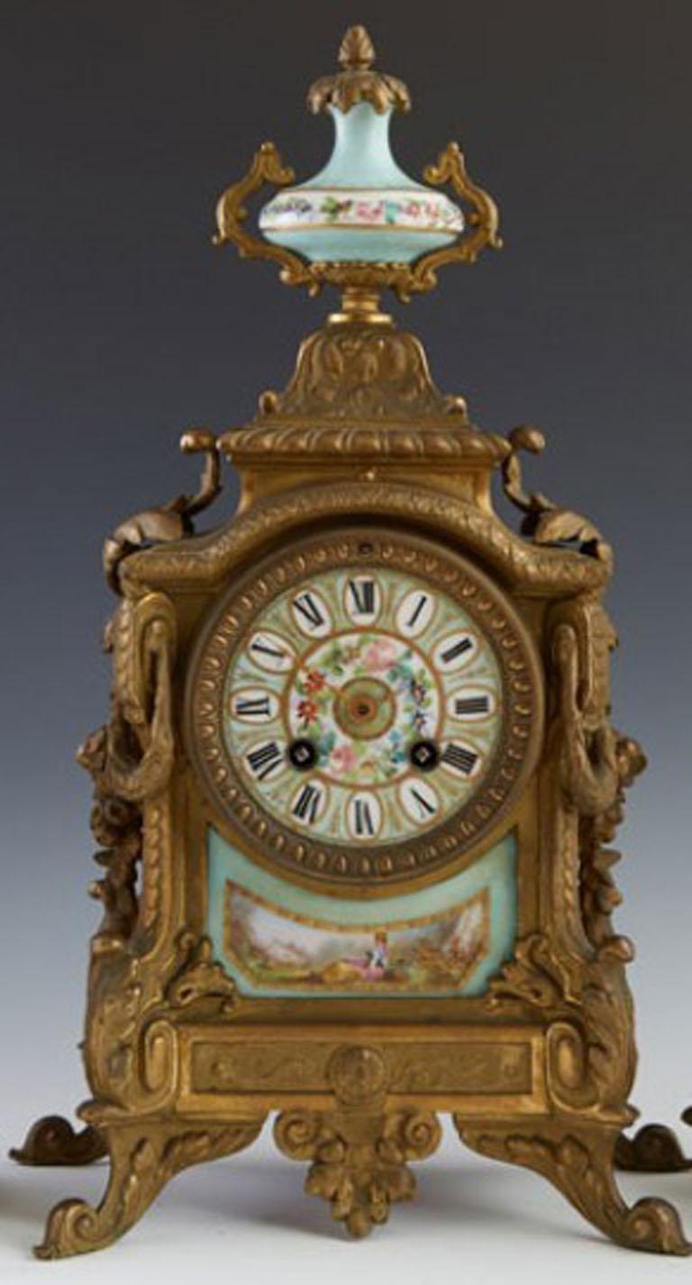 Three-piece gilt Spelter and