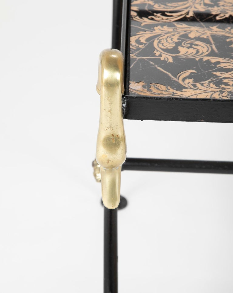 Three Piece Iron and Brass Coffee Table with Versace Insets For Sale 5