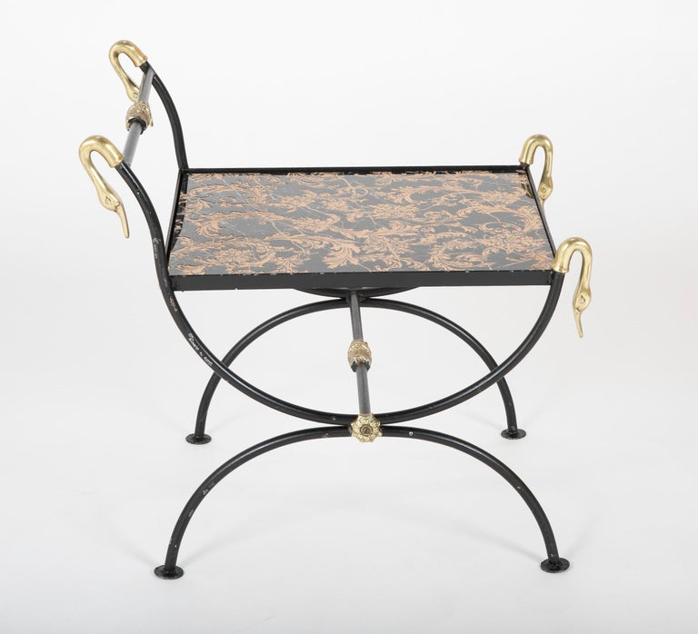 Three Piece Iron and Brass Coffee Table with Versace Insets For Sale 7