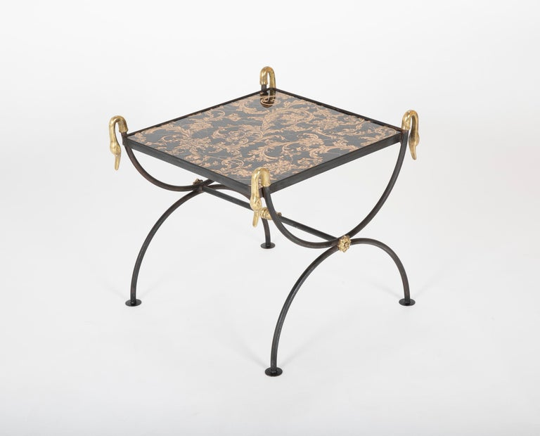 Three Piece Iron and Brass Coffee Table with Versace Insets For Sale 12