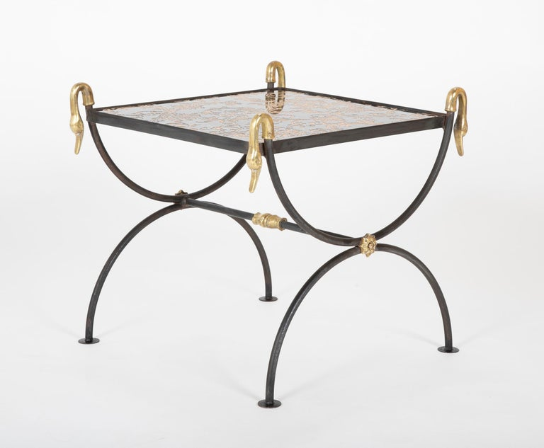 Three Piece Iron and Brass Coffee Table with Versace Insets For Sale 13