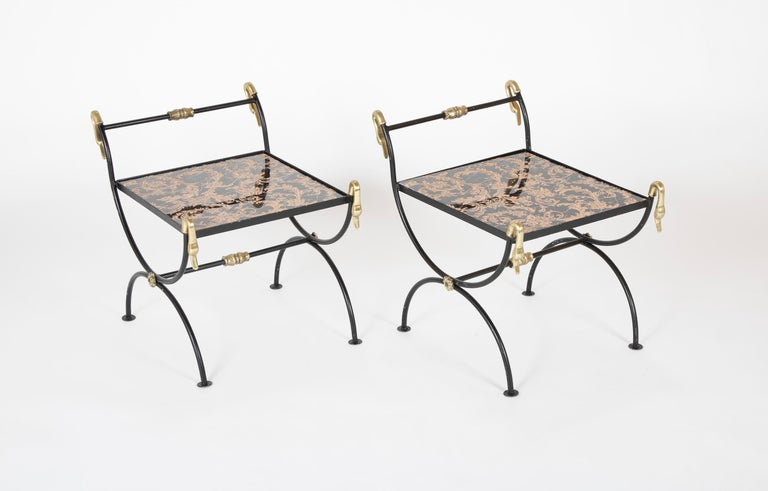Neoclassical Three Piece Iron and Brass Coffee Table with Versace Insets For Sale