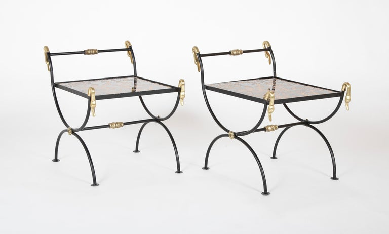 American Three Piece Iron and Brass Coffee Table with Versace Insets For Sale