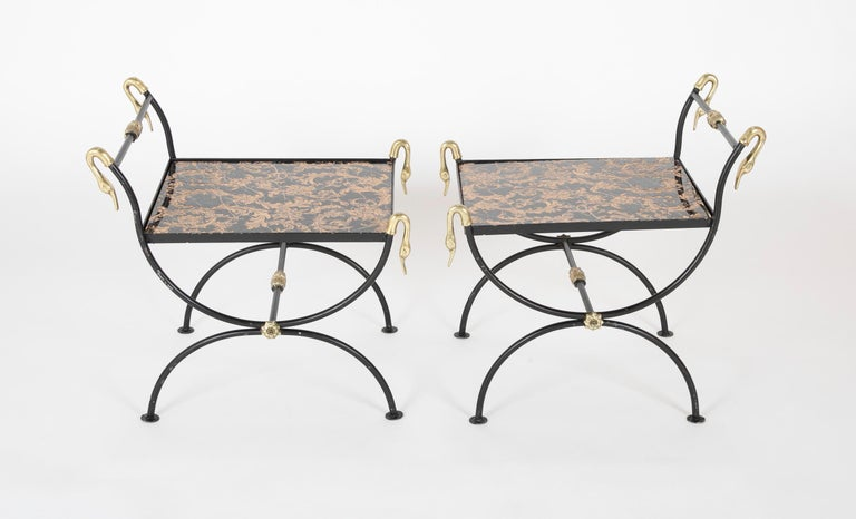 Three Piece Iron and Brass Coffee Table with Versace Insets In Good Condition For Sale In Stamford, CT