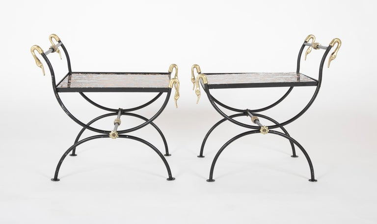 Mid-20th Century Three Piece Iron and Brass Coffee Table with Versace Insets For Sale