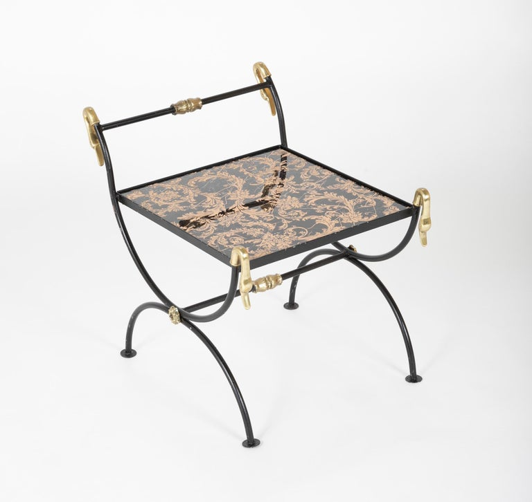 Three Piece Iron and Brass Coffee Table with Versace Insets For Sale 1