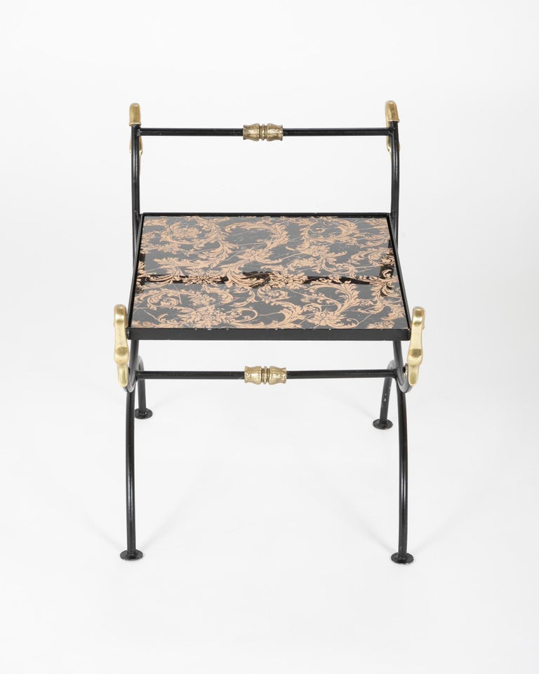 Three Piece Iron and Brass Coffee Table with Versace Insets For Sale 2