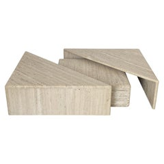 Three-Piece Layered Triangular Travertine Coffee Table