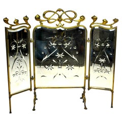 Three-Piece Mirrored Art Nouveau Fire Fender Screen