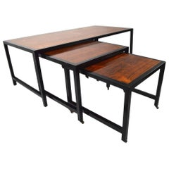 Three-Piece Nesting Tables Attributed to Harvey Probber Rosewood