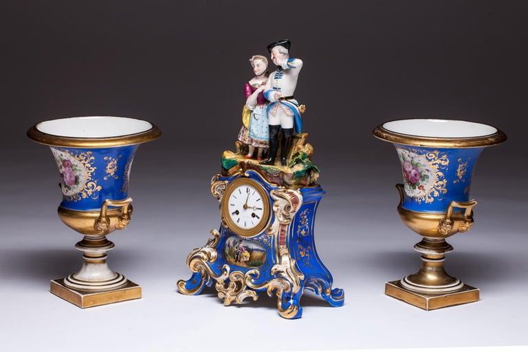 19th Century Three-Piece Old Paris Porcelain Mantel Clock Jacob Petit-Style For Sale
