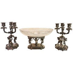 Three-Piece Pair-Point Cherub Candelabra Centerpiece Set, 19th-20th Century