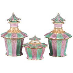 Three-Piece Paris Porcelain Vanity Set, circa 1900