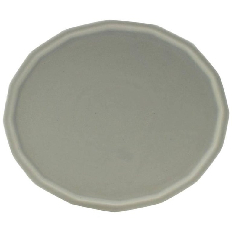 Three-Piece Place Setting for Eight Matte Grey Dinnerware Setting Modern For Sale