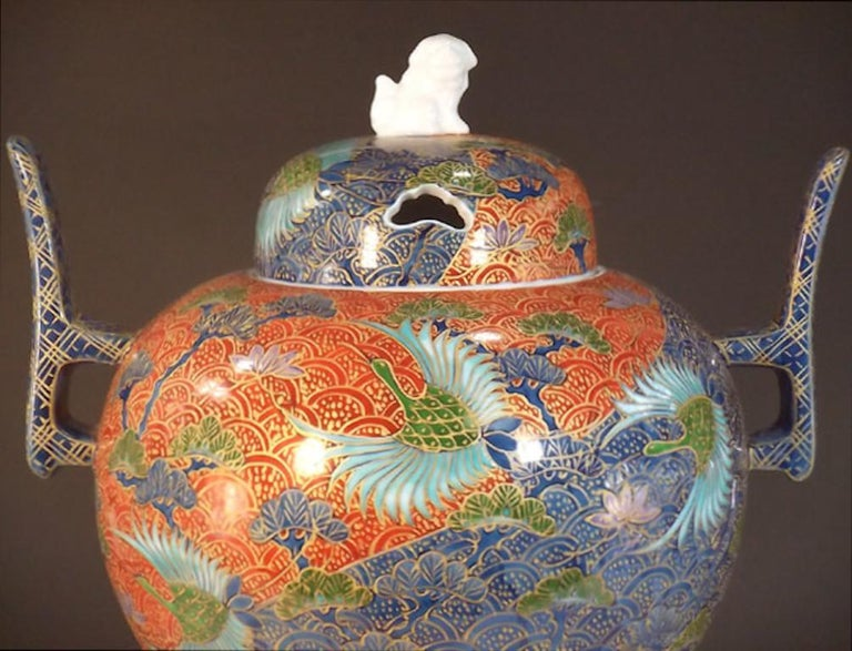 Exquisite three-piece porcelain decorative incense burner/vessel, intricately hand-painted on a beautifully crafted porcelain body, is a signed masterpiece by widely respected award-winning Japanese master porcelain artist in Imari-Arita tradition.