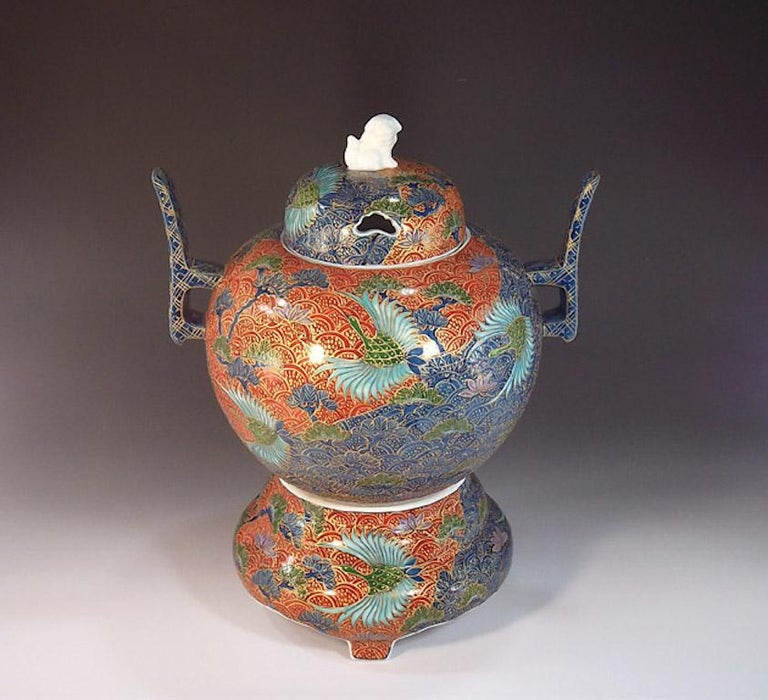 Gilt Three-Piece Red Blue Porcelain Incense Burner by Japanese Master Artist For Sale