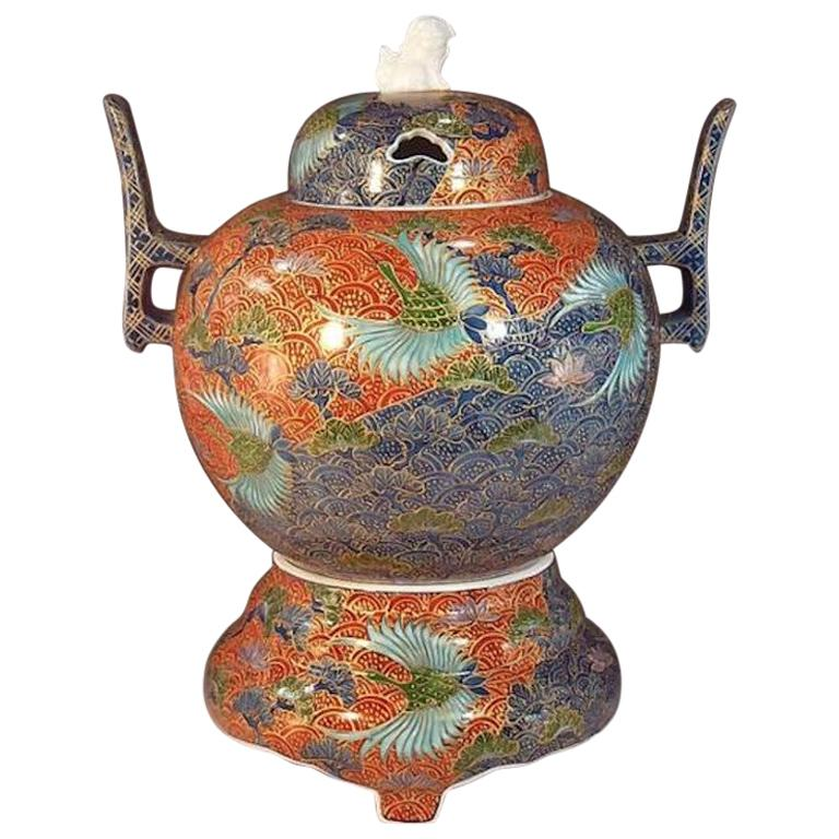 Three-Piece Red Blue Porcelain Incense Burner by Japanese Master Artist For Sale