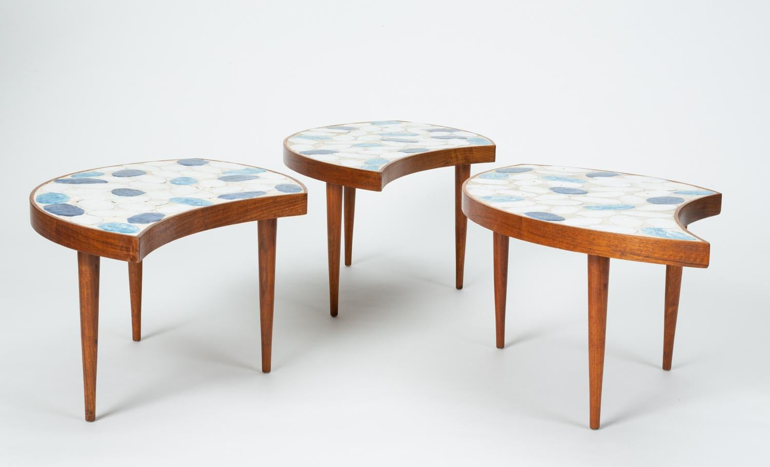 Three Piece Round Coffee Table With Ceramic Tile Top At 1stdibs