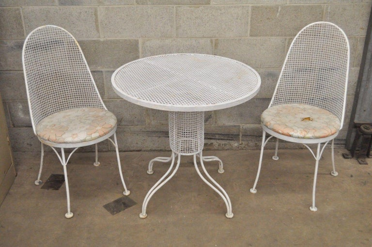 Three-Piece Russell Woodard Iron Metal Mesh Patio Bistro Dining Set For Sale 5