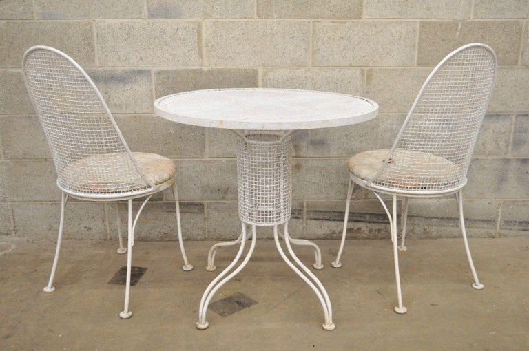 Three-Piece Russell Woodard Iron Metal Mesh Patio Bistro Dining Set For Sale 4