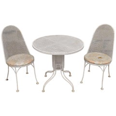 Three-Piece Russell Woodard Iron Metal Mesh Patio Bistro Dining Set