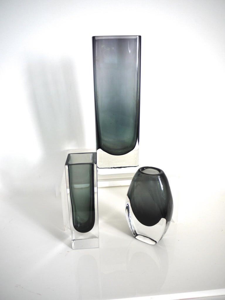 Swedish Vintage Collection Smoked Glass from Lindshammer and Kaj Franck for Nuutajarvi For Sale
