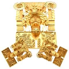 Three-Piece Set, 14 Karat Yellow Gold Tribal Earring and Pin/Pendant Set