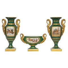 Three Piece Set French 19th Century Empire Style Porcelain Vases and Bowl