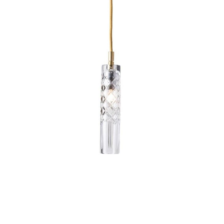 Danish Three-Piece Set of Mouth Blown Etched Crystal Pendant Lamps, Gold For Sale