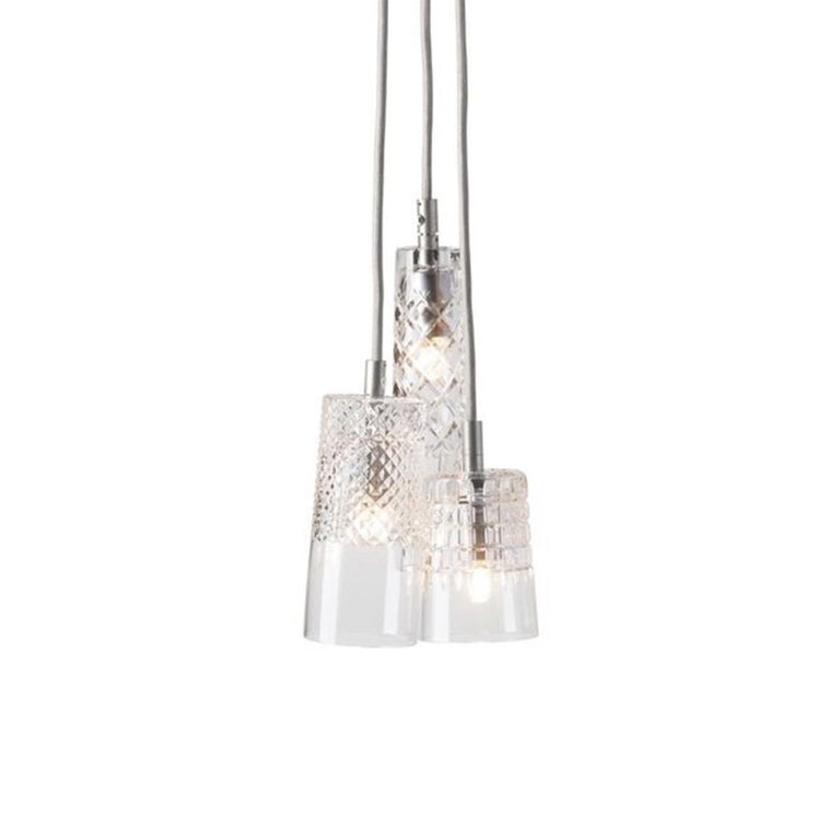 Danish Three-Piece Set of Mouth Blown Etched Crystal Pendant Lamps, Silver For Sale