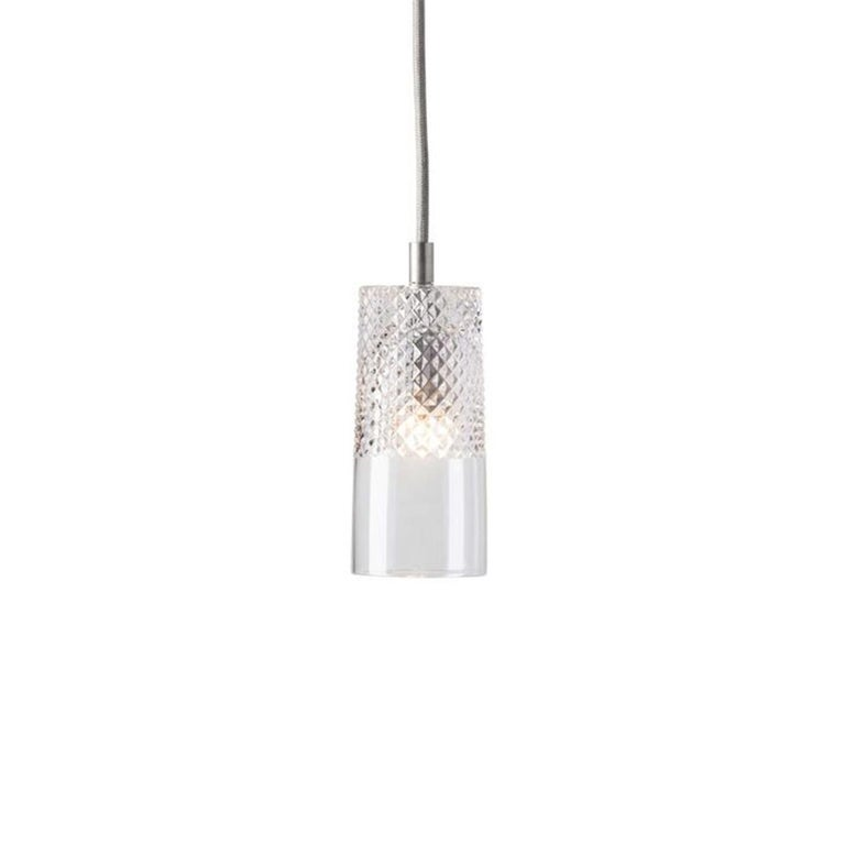 Brushed Three-Piece Set of Mouth Blown Etched Crystal Pendant Lamps, Silver For Sale
