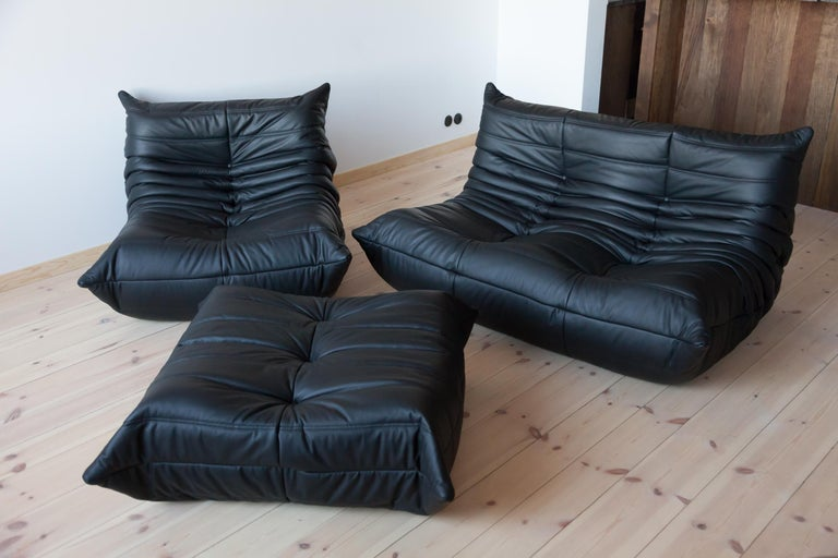 Mid-Century Modern Three-Piece Togo Set by Michel Ducaroy Manufactured by Ligne Roset in France For Sale
