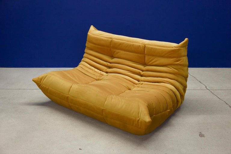 French Three Piece Togo Set by Michel Ducaroy Manufactured by Ligne Roset in France For Sale