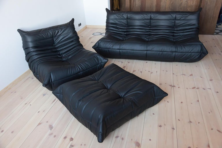 French Three-Piece Togo Set, Design by Michel Ducaroy, Manufactured by Ligne Roset For Sale
