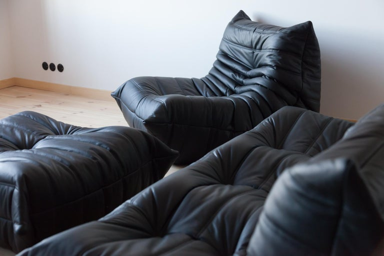 Leather Three-Piece Togo Set, Design by Michel Ducaroy, Manufactured by Ligne Roset For Sale