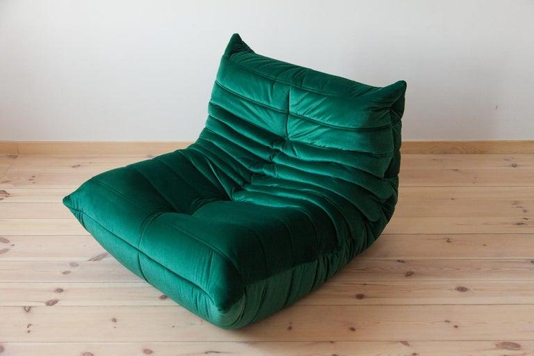 Velvet Three-Piece Togo Set, Design by Michel Ducaroy, Manufactured by Ligne Roset For Sale