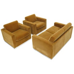 Three Pieces Mohair Living Room Set Club Chairs Love Seat Sofa