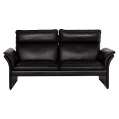 Three-Point Scala Leather Sofa Black Three-Seat Couch