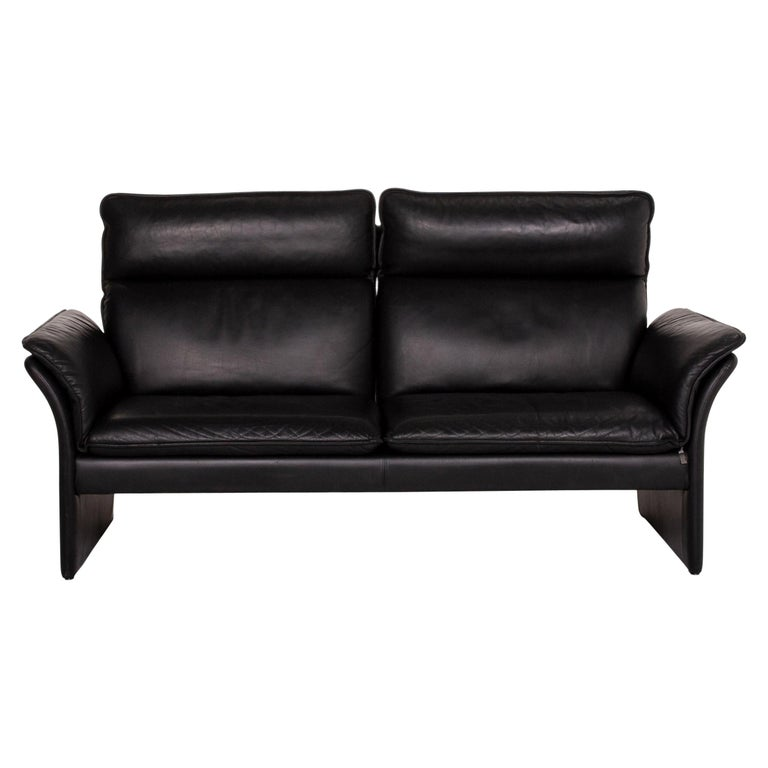 Three-Point Scala Leather Sofa Black Three-Seat Couch For Sale
