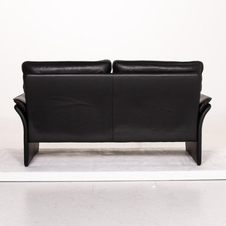 Three-Point Scala Leather Sofa Black Three-Seat Couch For Sale 4