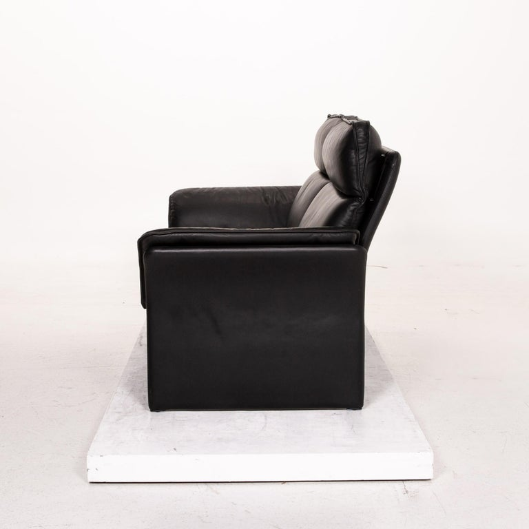 Three-Point Scala Leather Sofa Black Three-Seat Couch For Sale 5
