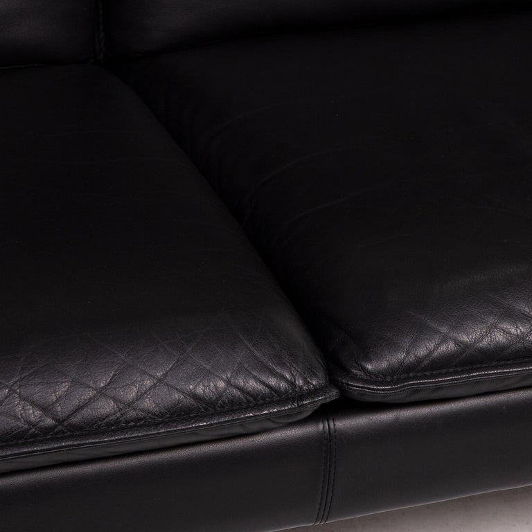 Modern Three-Point Scala Leather Sofa Black Three-Seat Couch For Sale