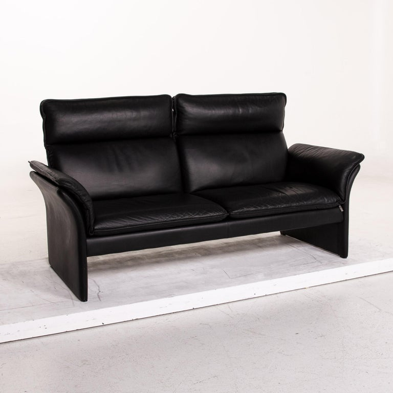 Three-Point Scala Leather Sofa Black Three-Seat Couch For Sale 1