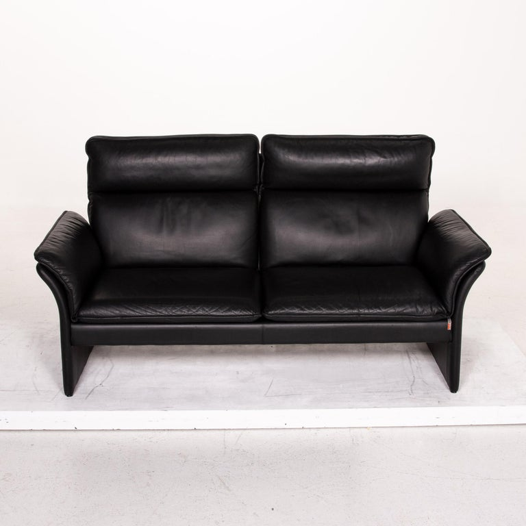 Three-Point Scala Leather Sofa Black Three-Seat Couch For Sale 2