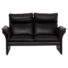 Three-Point Scala Leather Sofa Black Two-Seat Couch
