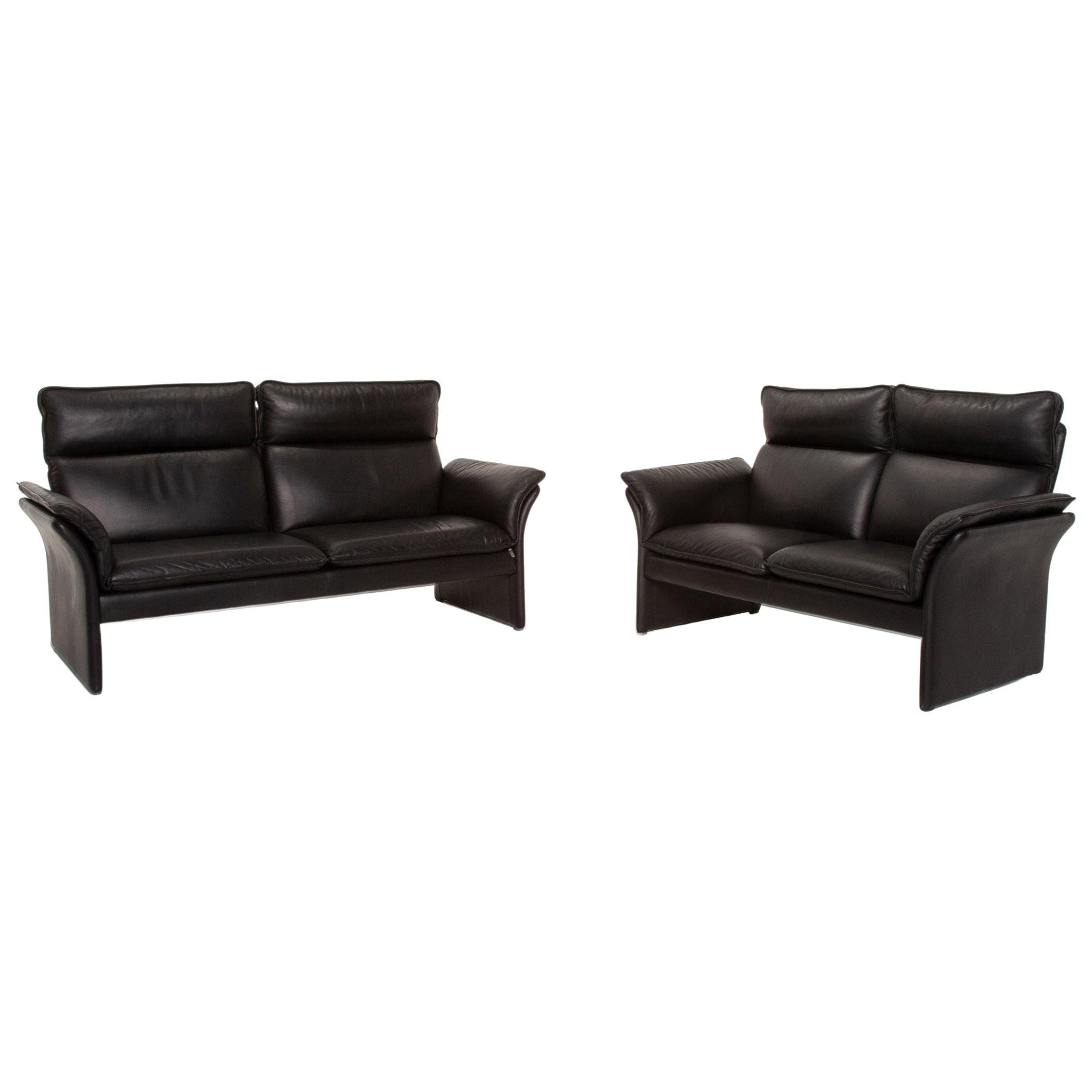 Three-Point Scala Leather Sofa Set Black 1 Three-Seat 1 Two-Seat