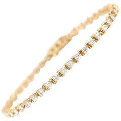 Three Prongs 14 Karat Yellow Gold Round Diamond Tennis Bracelet