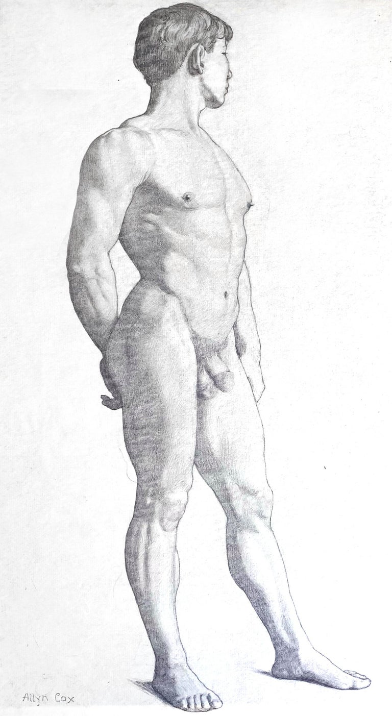 Beautifully and sensitively drawn, this depiction of a standing male nude, three-quarters view, was created by Allyn Cox, son of the famous muralist Kenyon Cox. The younger Allyn was important in his own right for executing an ambitious set of